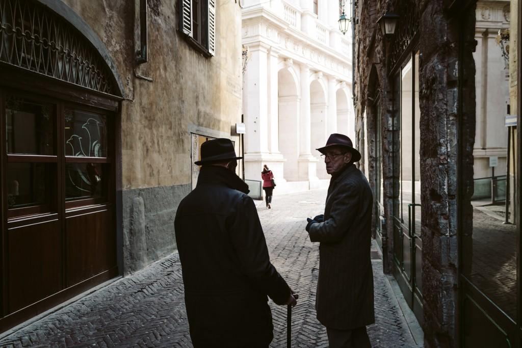 Old men in Bergamo, citta alta.Italy, Lombardy. Italia, Lombardia.