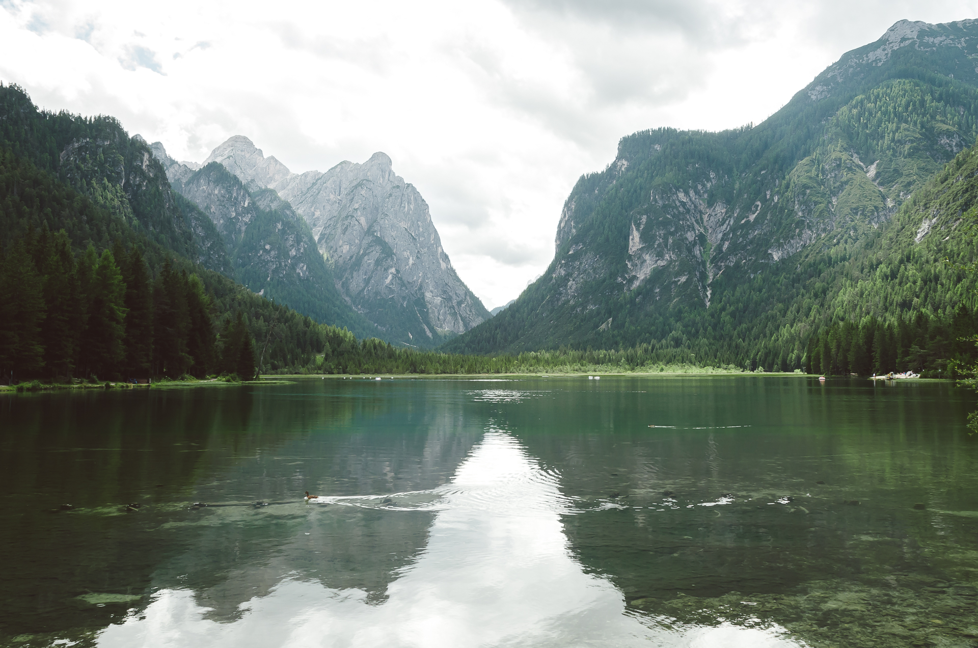 Lago di Dobbiaco, Italy, Dolomiti, Dolomites, South Tyrol