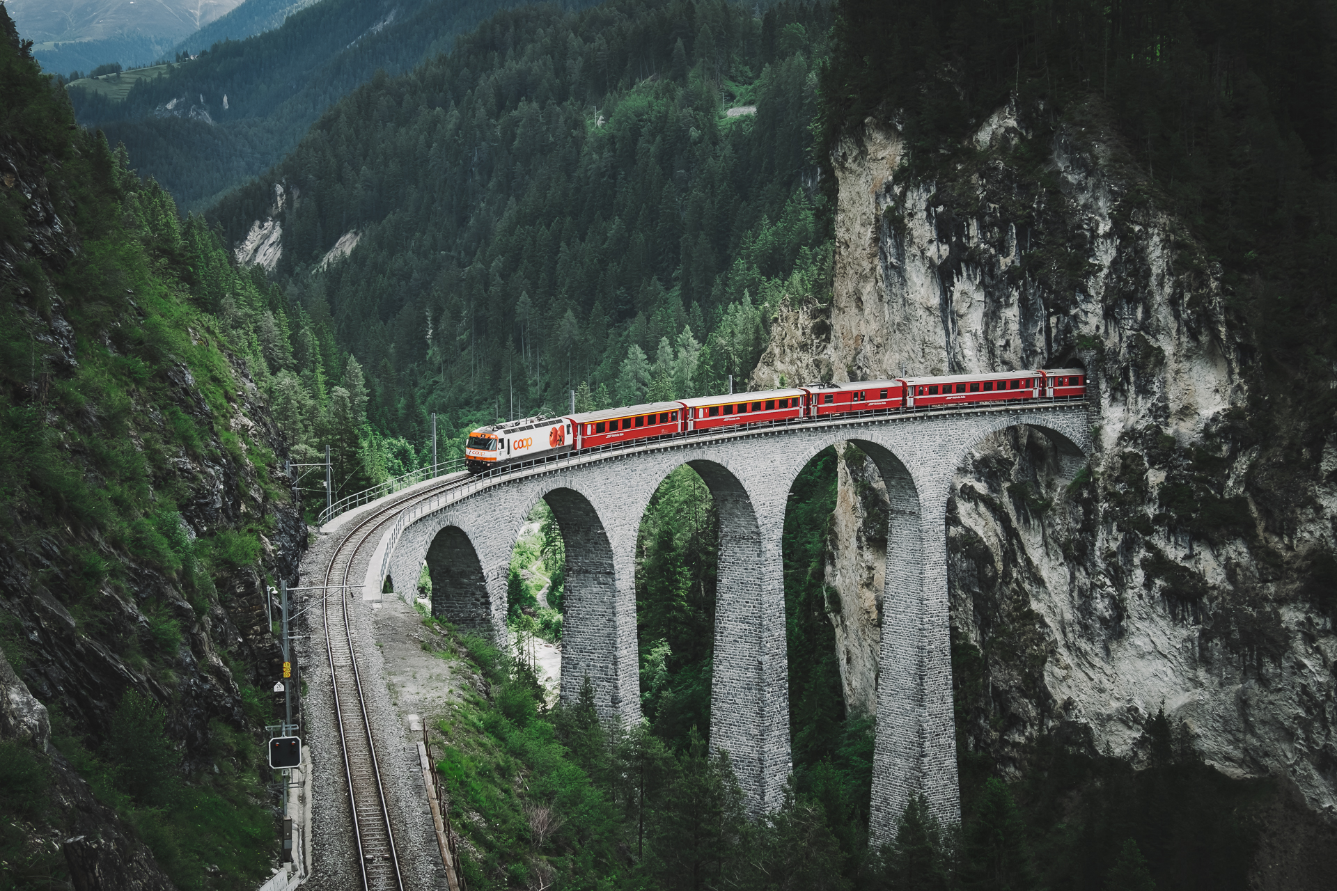 Landwasserviaduct, Graubunden, Switzerland, Bergun