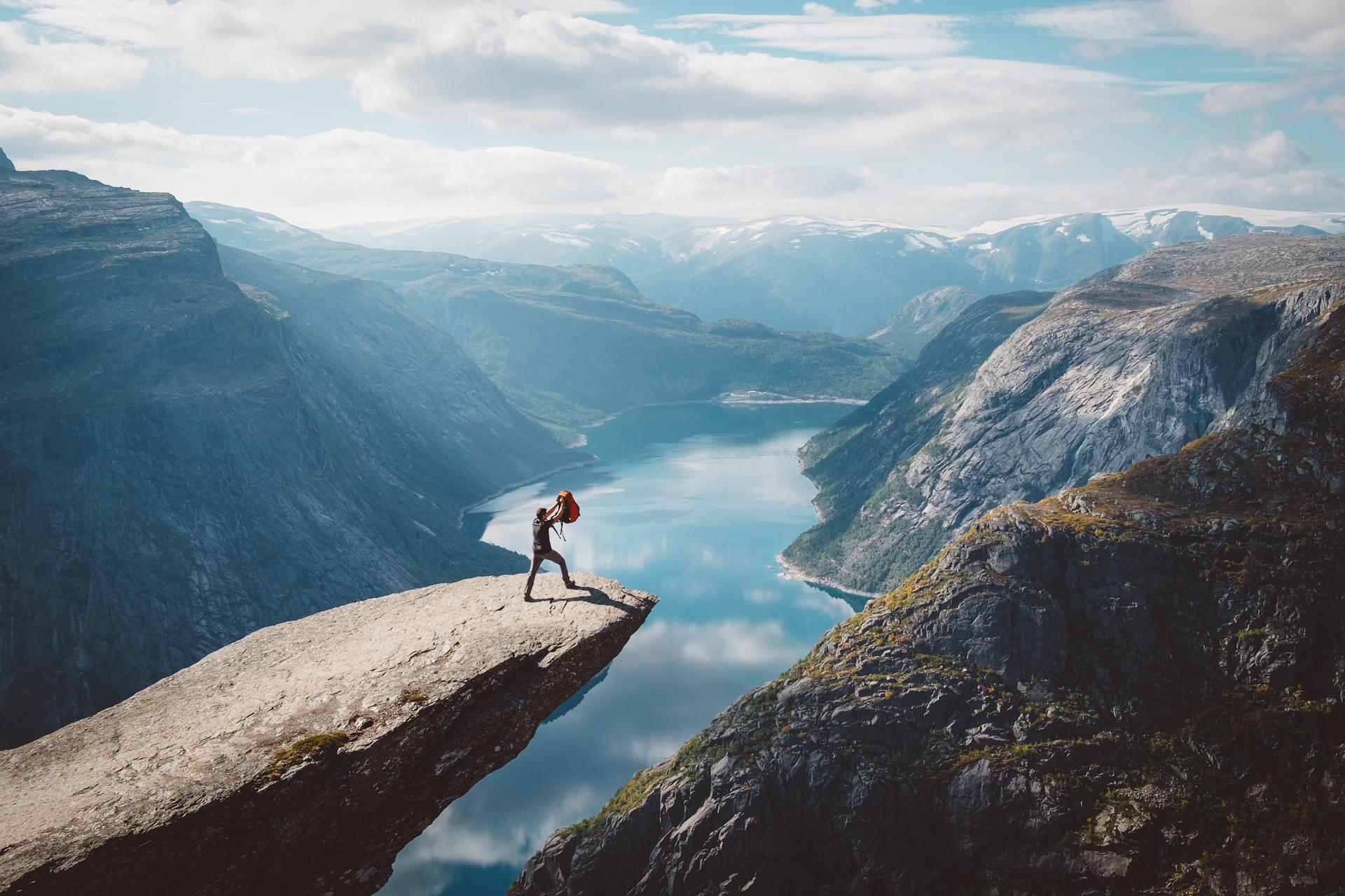 特罗尔通加,挪威,峡湾,远足,哈当厄尔峡湾
