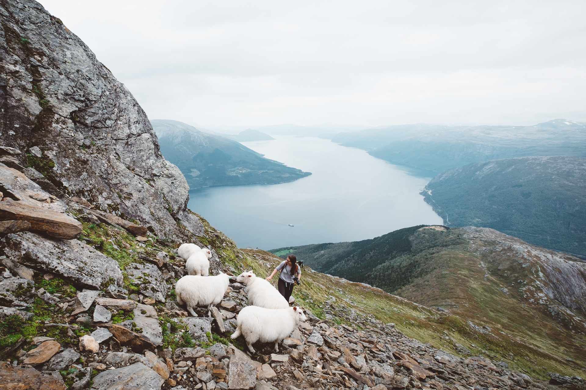 Mount Oksen - outdoor trip in Hardangerfjord - above the lake