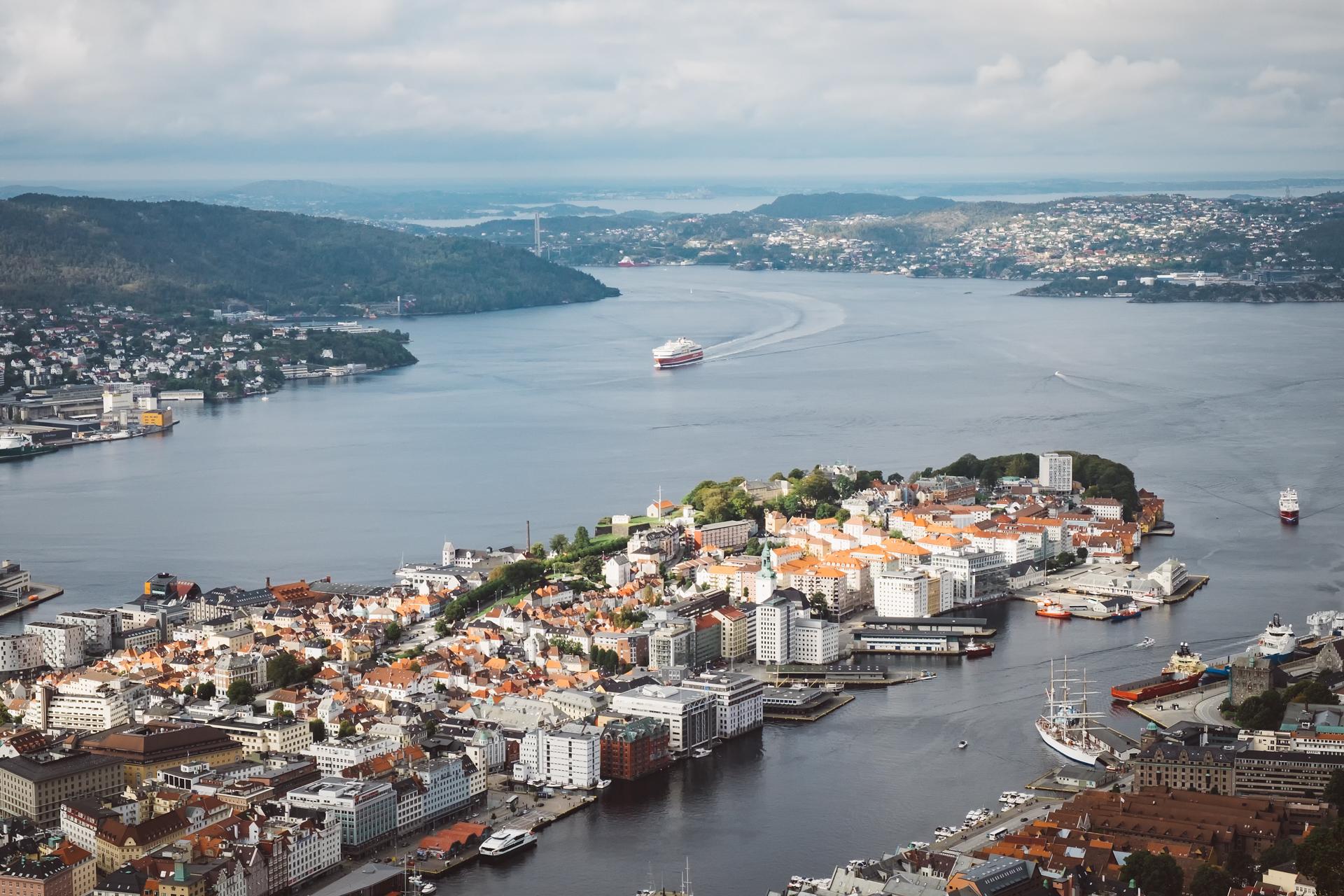 卑尔根,挪威,峡湾,弗洛伊恩